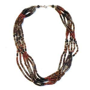 Vintage boho multi strand statement necklace